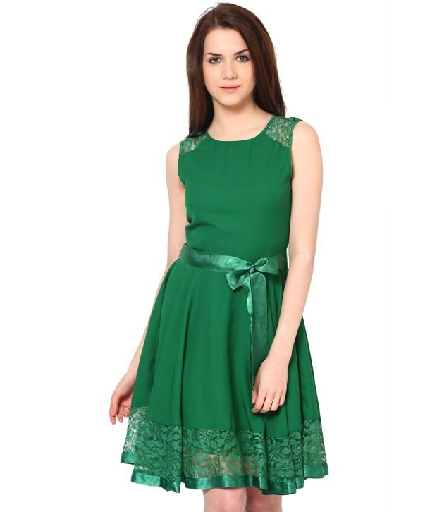 3776b17211f1d The Vanca Solid Green Dress - Buy The Vanca Solid Green Dress Online at Best  Prices in India on Snapdeal