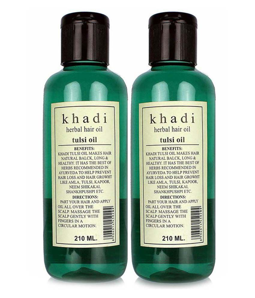 Khadi Herbal Tulsi Hair Oil (Twin Pack) 45ml Each