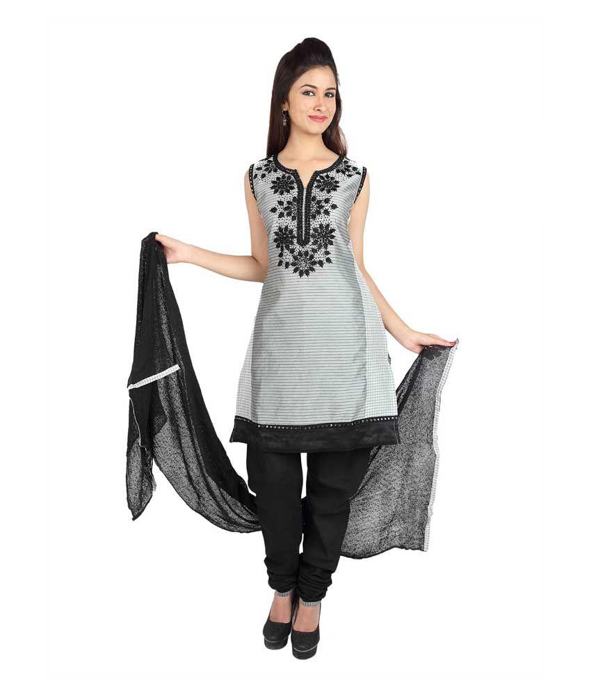 Mina Bazaar Embroidered Grey Cotton Designer Readymade Suit