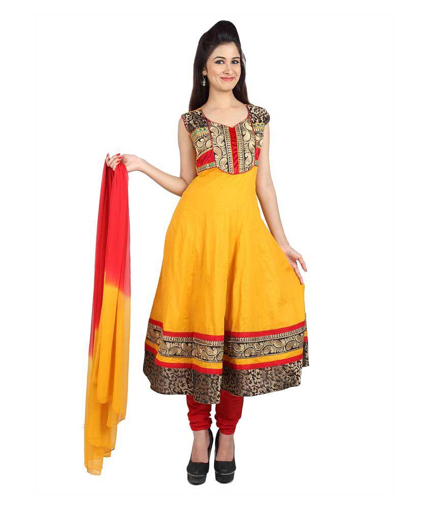 Mina Bazaar Embroidered Mustard Cotton Designer Readymade Suit