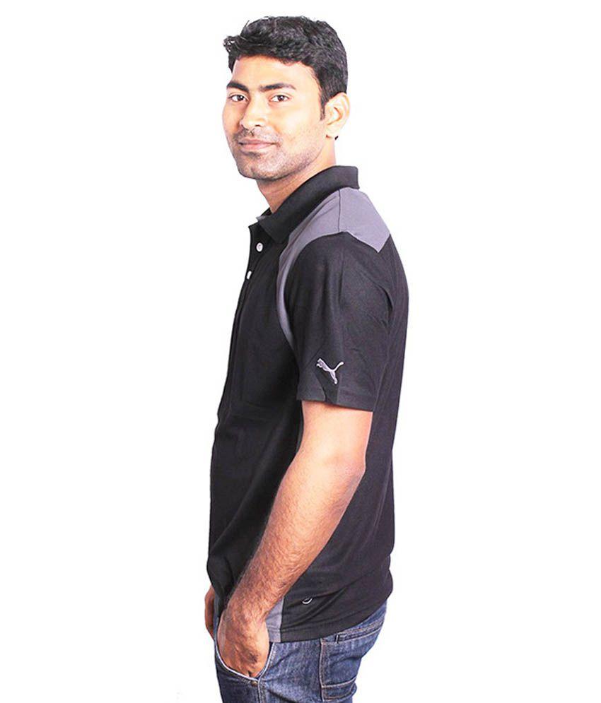 Black t shirt low price - Puma Black Half Sleeves Men Collared T Shirt