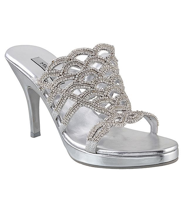 Metro Appealing Silver Heeled Slip-on