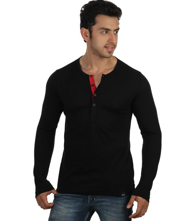 Rigo black full sleeves cotton henley t shirt buy rigo for Full sleeves t shirts for men