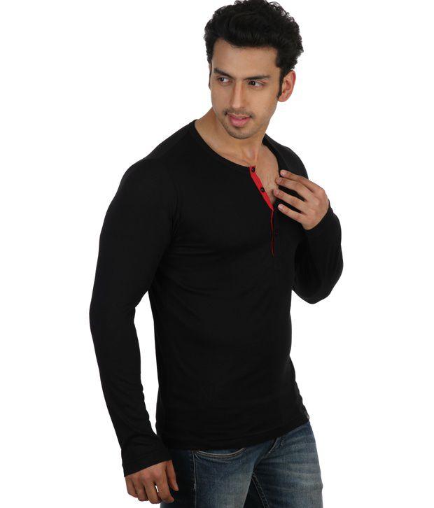 dc6b02f7e3f Rigo Black Full Sleeves Cotton Henley T-Shirt - Buy Rigo Black Full ...