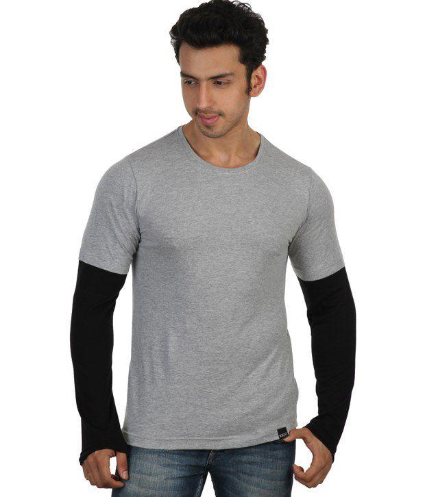 Rigo Gray Full Sleeves Cotton Round T-Shirt