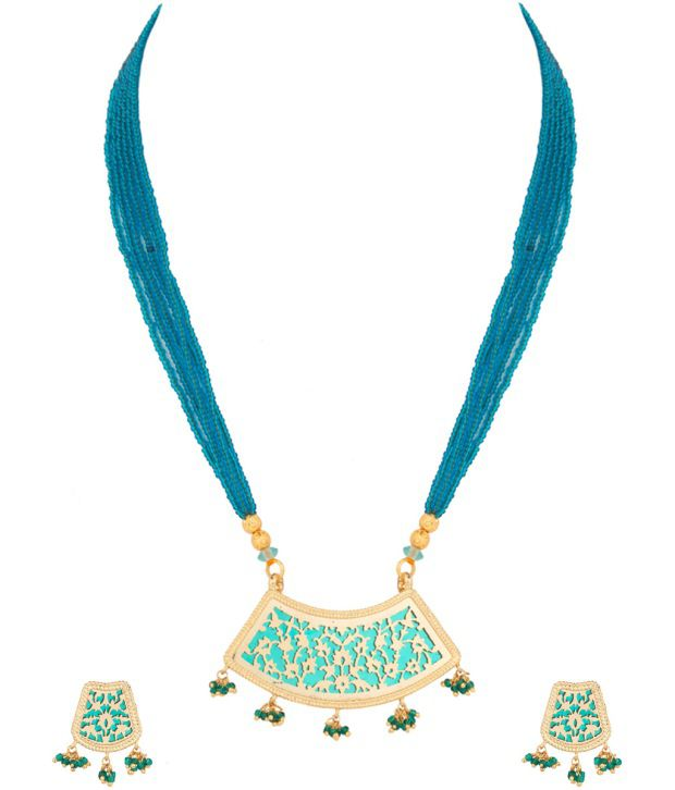Voylla Blue Gold Plated Thewa Art Necklace Set With Floral Theme