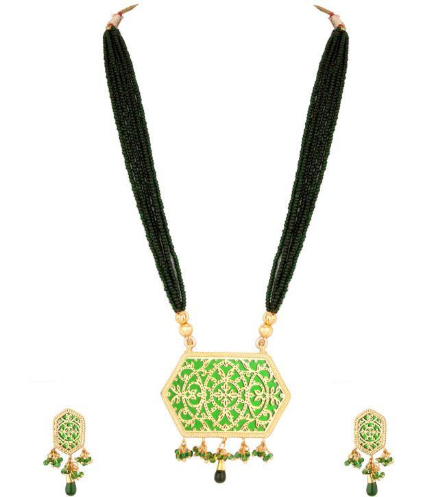 Voylla Fashionable Floral Green Thewa Art Necklace Set