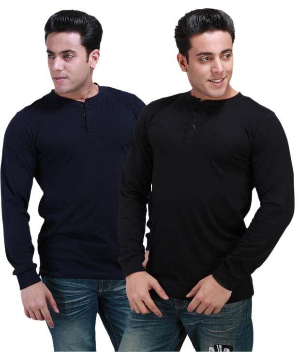 Inkovy Multi Coloured Full Cotton Henley T-Shirt