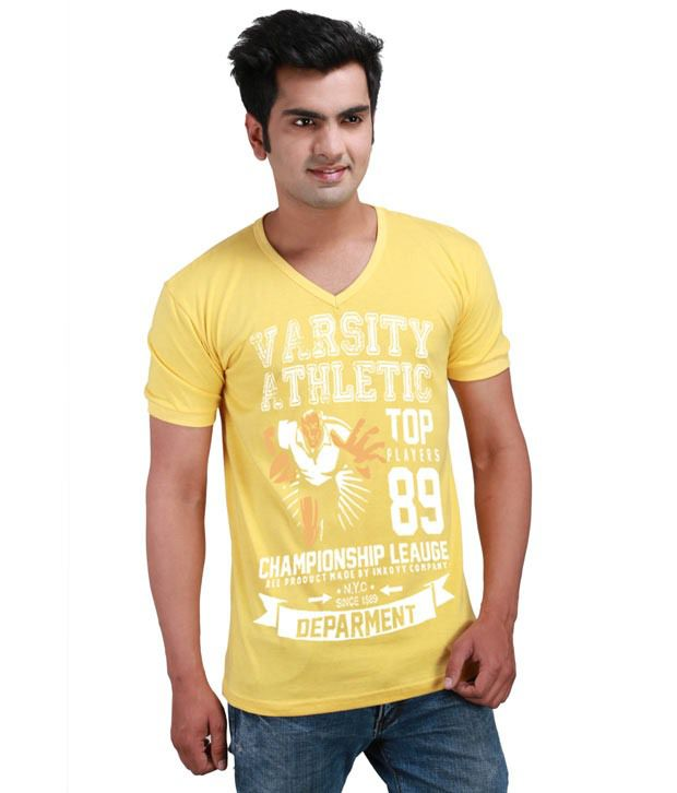 Inkovy Yellow Half Cotton V-Neck T-Shirt