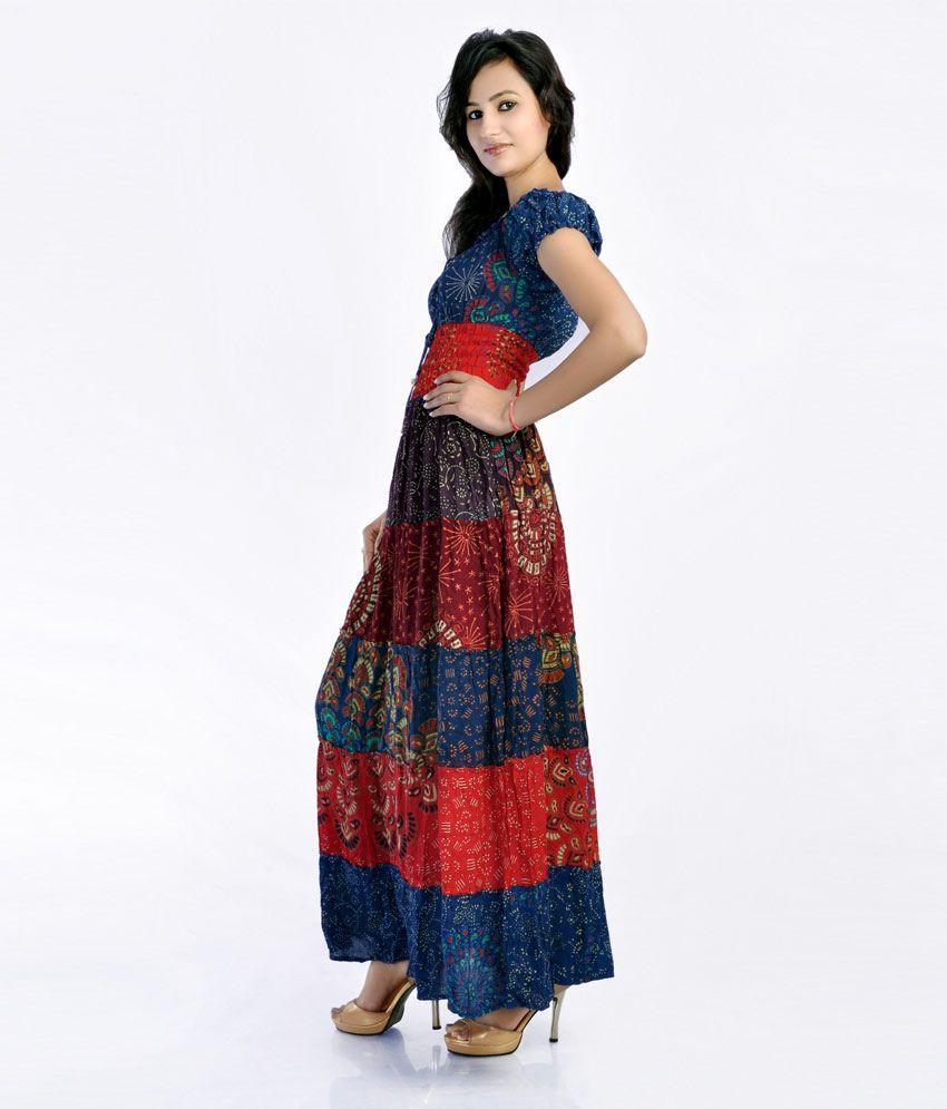 JKK Multi Color Printed Others Long Maxi Dress - Buy JKK Multi ...