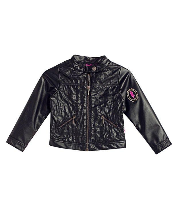 Barbie Biker Leather Look, Quilted Details, Black Color Jacket For Infant Girls