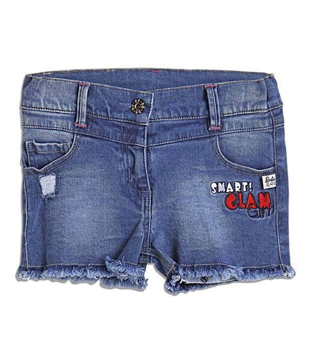 Barbie Embroidered Blue Color Shorts For Infant Girls