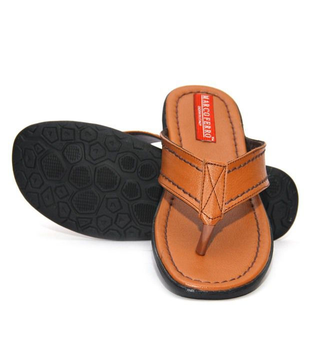 Marco Ferro Brown Slippers & Flip Flops Price in India- Buy Marco ...