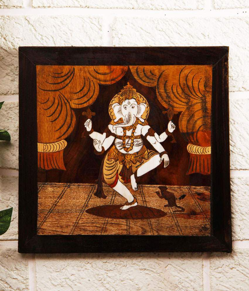 Unravel India Multicolour Wood Abstract Painting