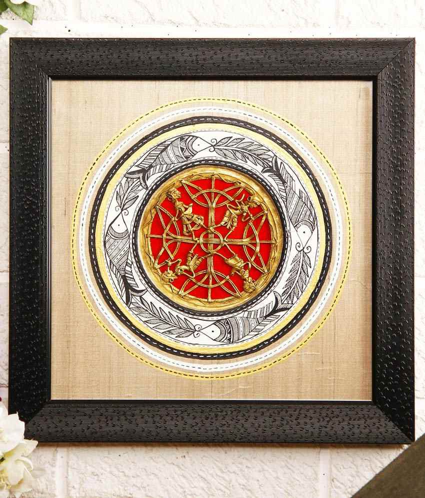 Unravel India Multi Wooden Base, Silk painting Wall Hanging