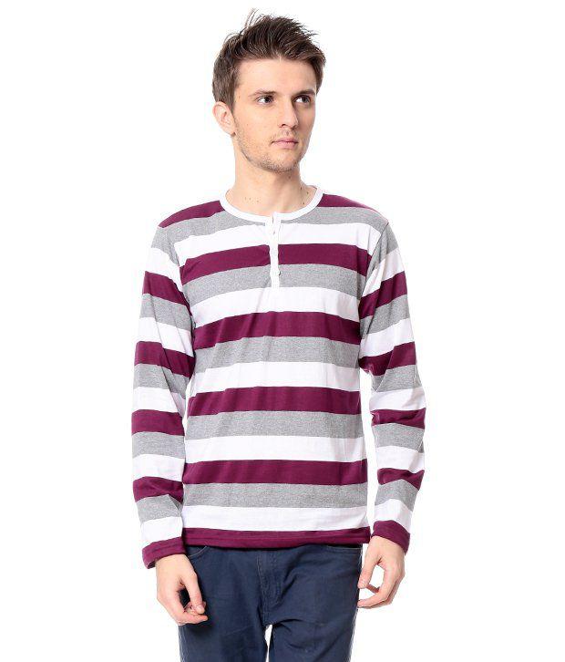 Leana Purple Full Cotton Henley T-Shirt