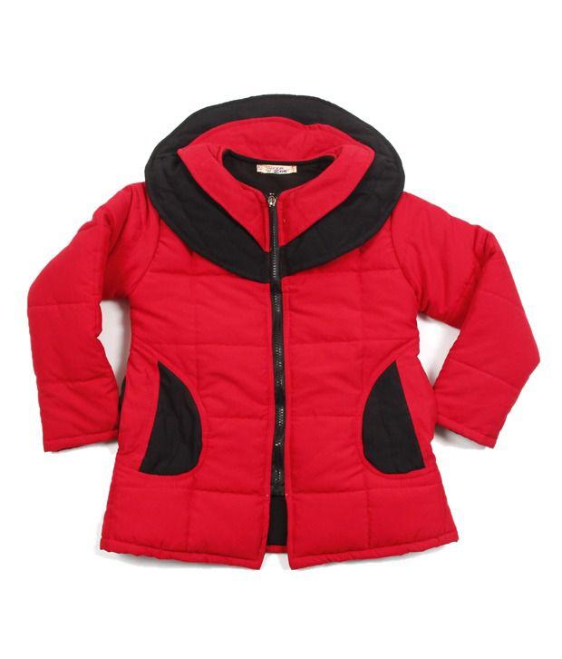 Riya N Zoe Full Sleeve Polycrape Red Jacket For Infant Girls