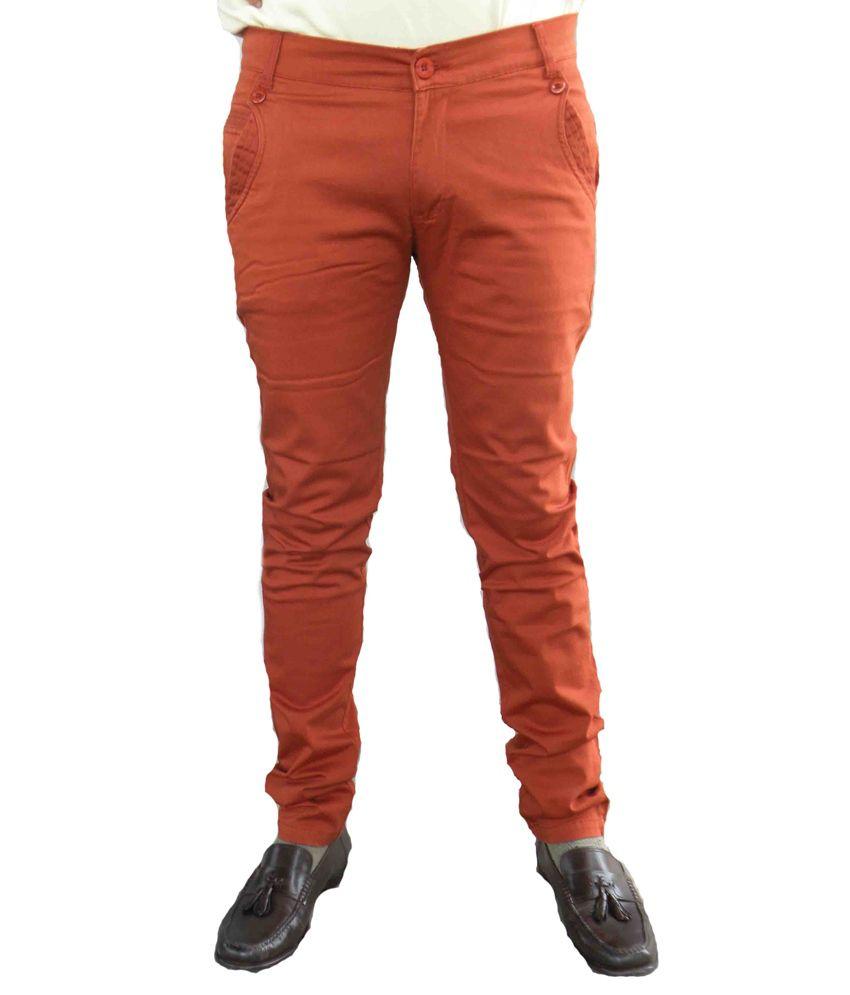 Trendi24x7 Orange Regular Casuals Chinos