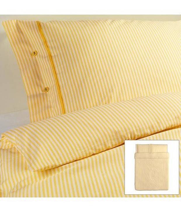 Beautiful White And Yellow Striped Pattern Duvet Cover And