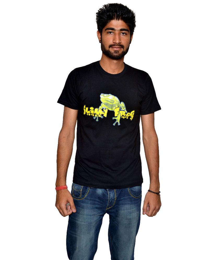 Slimy Frog Black Half Cotton Blend Round T-Shirt