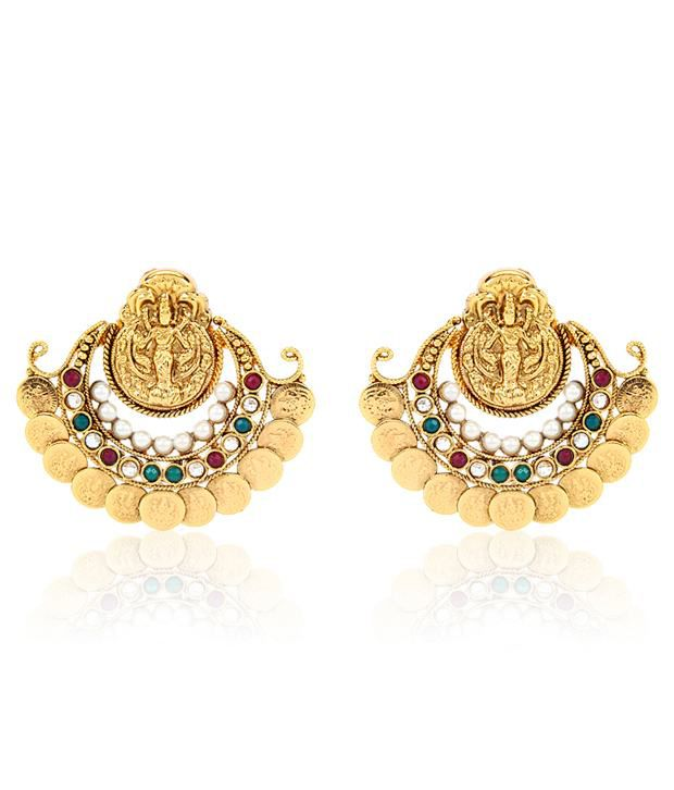 Jewels Galaxy Goddess Laxmi Coin Earring