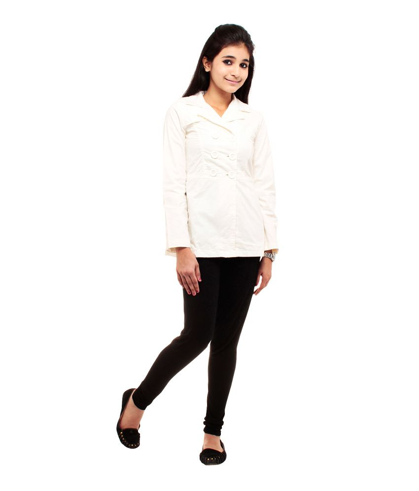 Kiwie White Jackets For Girls