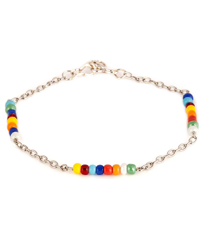 Voylla Attractive Multi-Colour Beaded Hook Anklets Pair