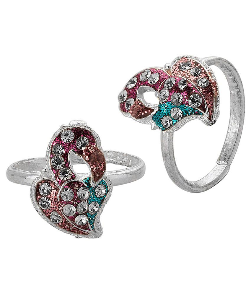 Voylla Flamingo Toe Rings With Silver Tone
