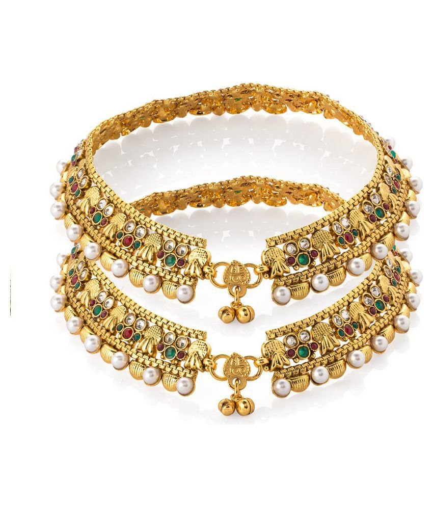 Voylla Gold Plated Glorious Anklet Pair Embellished With Kundans; Pearl Beads