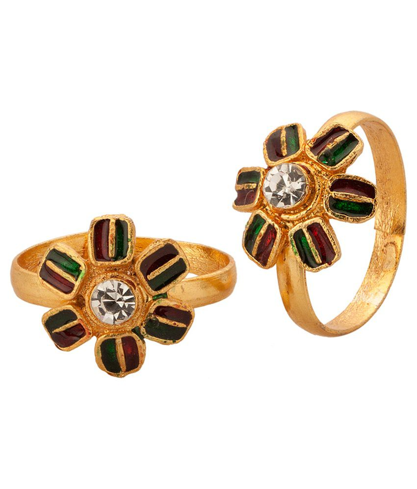 Voylla Gold Plated Meenakari Toe Rings With Floral Design