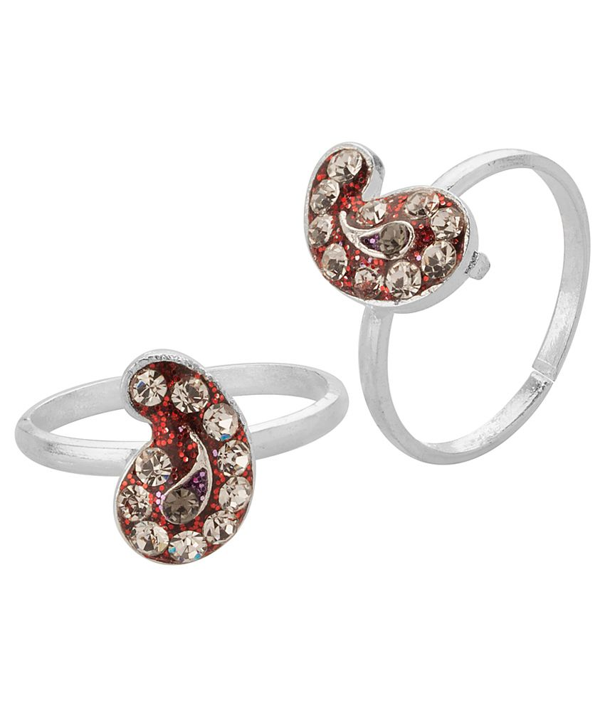 Voylla Red Paisley Toe Rings With Silver Tone