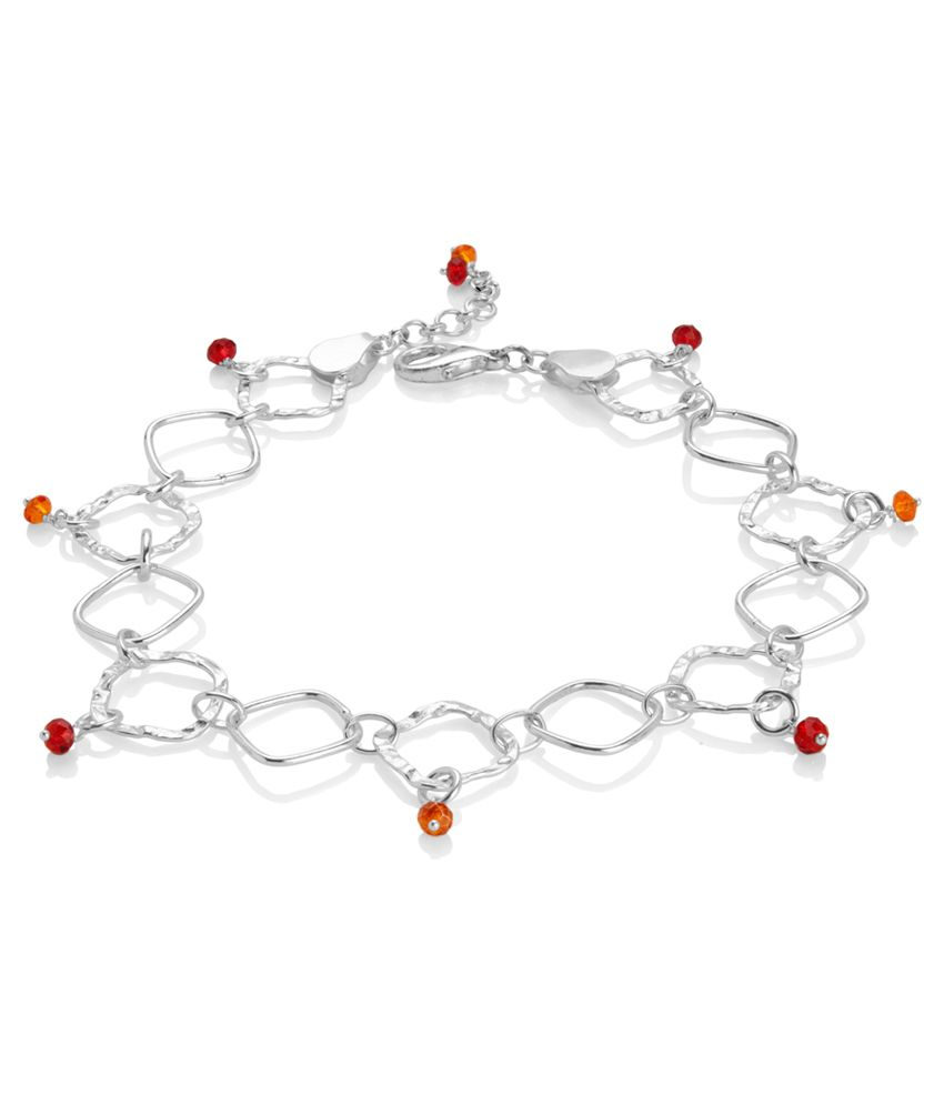 Voylla Rhombus Style Anklets With Red;Orange Crystals