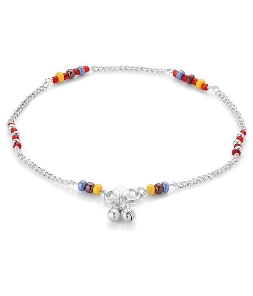 Voylla Silver Plated Anklets with Dazzling Crystal Work