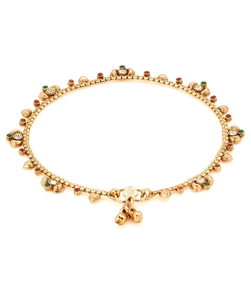 Voylla Stylish Gold Plated Polki Studded Anklet Pair