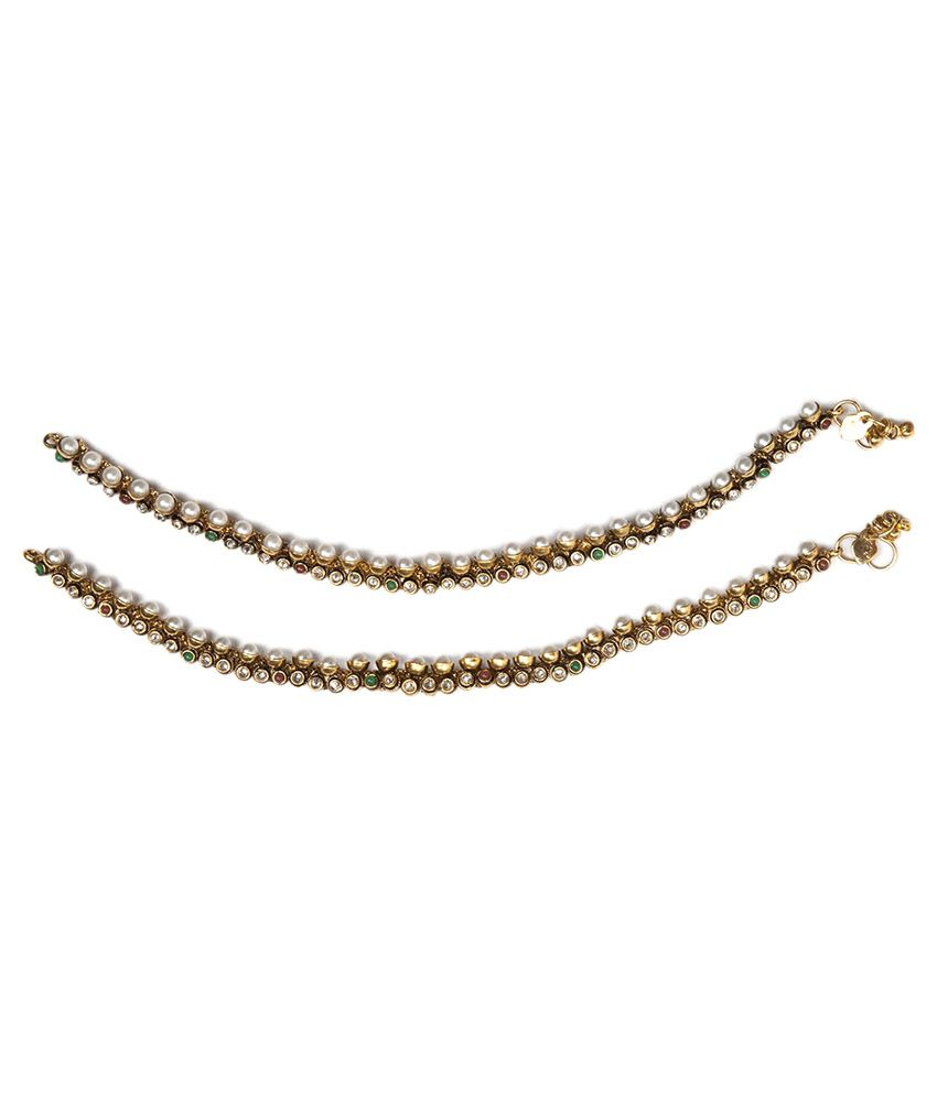 Voylla Traditional Gold Plated Anklet