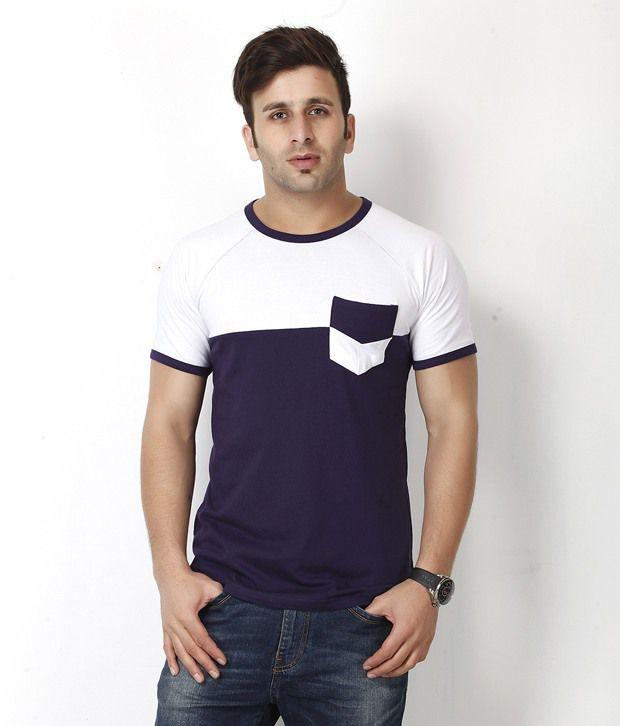 Gritstones White and Purple Round Neck T Shirt