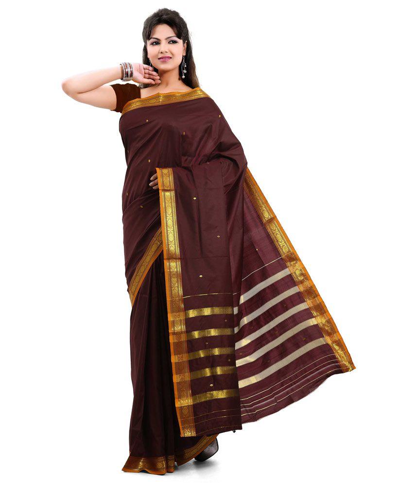 23878676a Ishin Brown Art Silk Saree - Buy Ishin Brown Art Silk Saree Online at Low  Price - Snapdeal.com