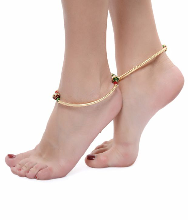 ShinningDiva Stone Studded Pair of Anklet