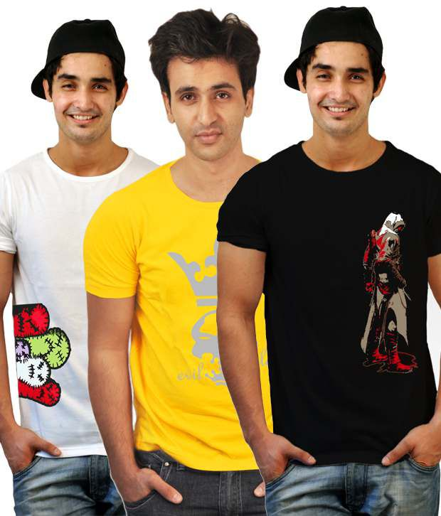 Incynk Pack Of 3 Yellow-Black-White Printed T-Shirts