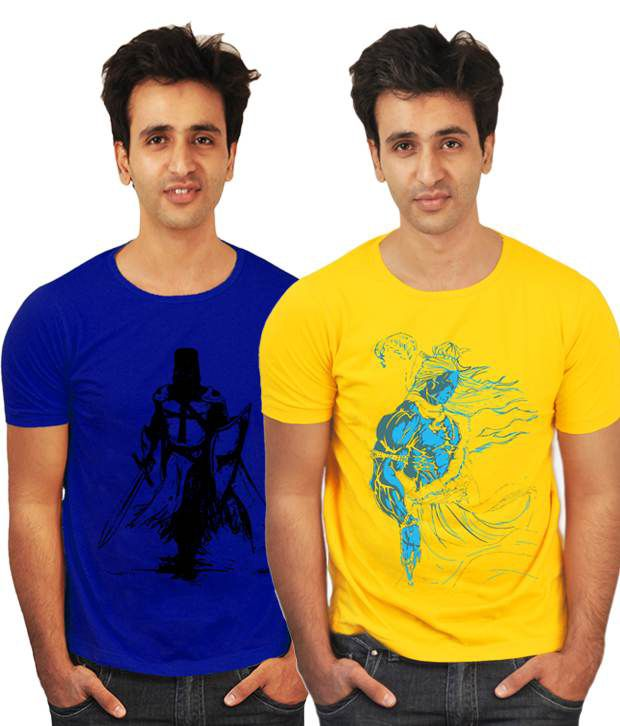 Incynk Combo of 2 Chic Yellow-Royal Blue Printed T Shirts