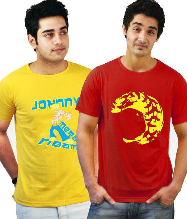Incynk Combo of 2 Classy Red-Yellow T Shirts