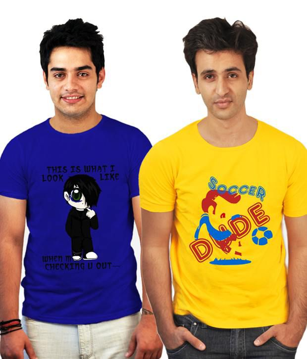 Incynk Combo of 2 Yellow-Royal Blue Cotton T Shirts