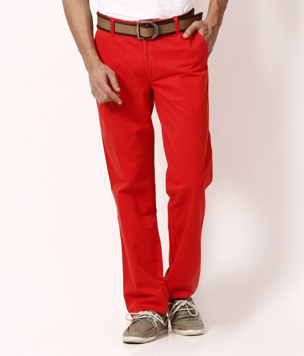 Wills Lifestyle Poppy Red  Cotton Trouser