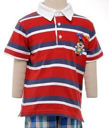 c0538da31 Jus Cubs Animated Micky Red, White & Dark Blue Stripes Half Sleeves T-Shirts  For Kids