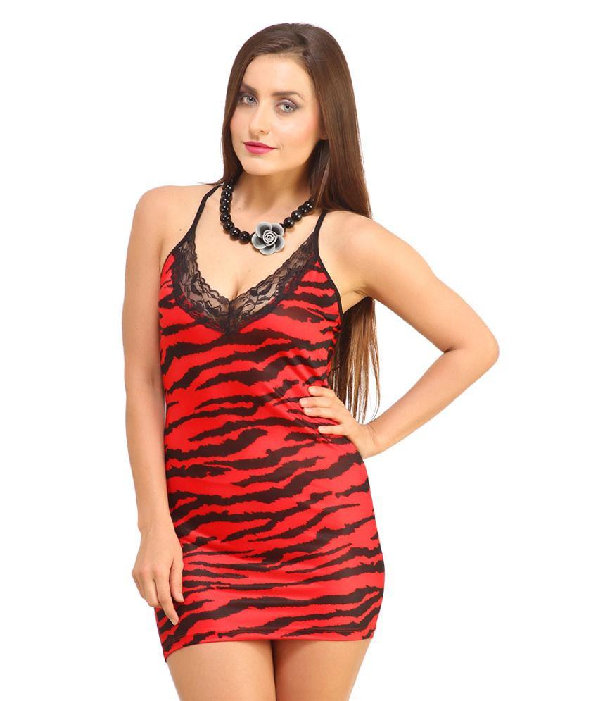 Buy DesiHarem Hottest Red Tiger Print Chemise Lingerie
