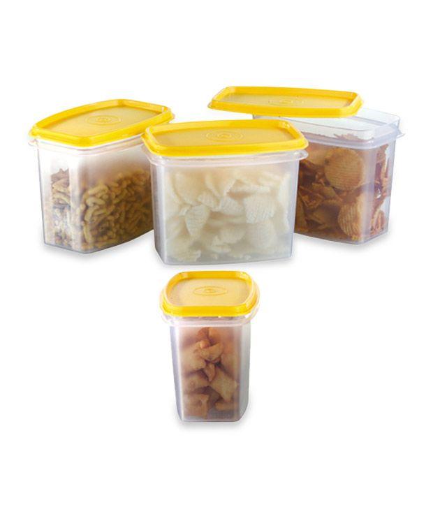 Yellow Kitchen Storage: Prime Housewares Kitchen Storage Food Containers 4 Pcs