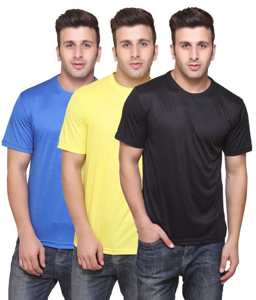 American Phoenix 3 T-shirt Combo Round Neck  Black & Yellow & Blue