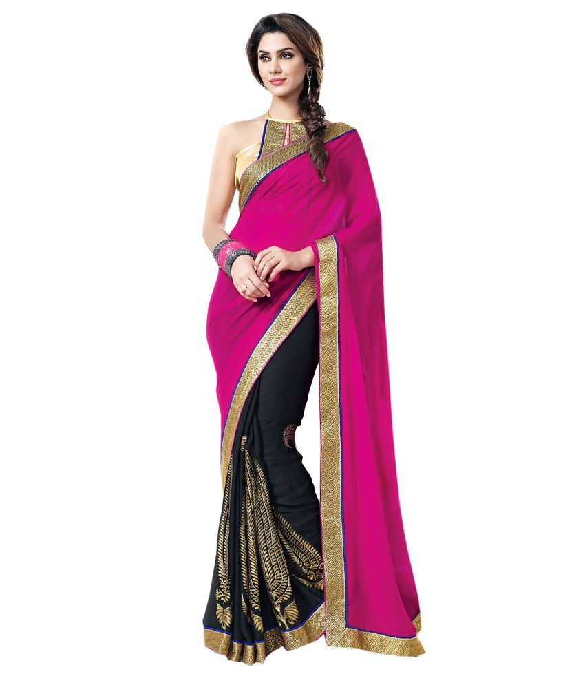 ... Buy Blue Woman Black And Pink Saree Online at Low Price - Snapdeal.com