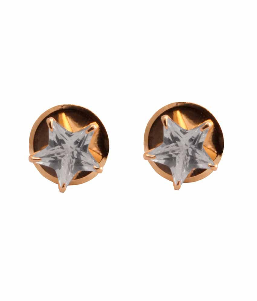 VaRaaGk Star Shapped White 7mm Size Stud For Women
