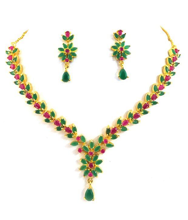 Designer Ruby Emerald Necklace Set Buy Designer Ruby